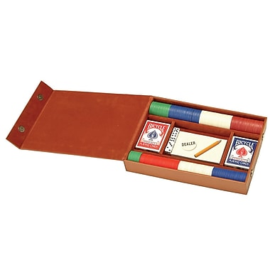 Royce Leather Professional Poker Set, Tan, Gold Foil Stamping, 3 Initials