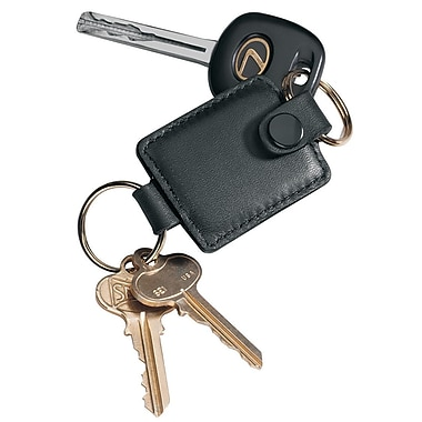 Royce Leather Valet Key Fob, Black, Silver Foil Stamping, 3 Initials