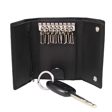 Royce Leather Key Case Wallet, Black, Silver Foil Stamping, Full Name