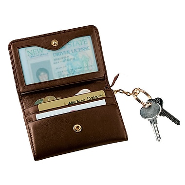 Royce Leather Wallet with Removable Key Ring, Coco, Silver Foil Stamping, 3 Initials