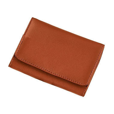 Royce Leather Wallet with Removable Key Ring, Tan, Silver Foil Stamping, Full Name