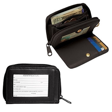 Royce Leather ID Wallet with Key Fob, Black, Silver Foil Stamping, 3 Initials