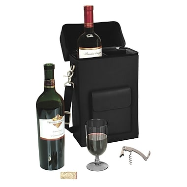 Royce Leather Wine Carrying Carrier, Black, Gold Foil Stamping, Full Name