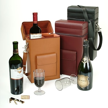Royce Leather Wine Carrying Carrier, Burgundy, Gold Foil Stamping, 3 Initials