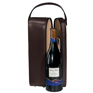 Royce Leather Suede Lined Single Wine Carrying Case, Burgundy, Silver Foil Stamping, 3 Initials