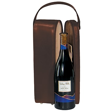 Royce Leather Suede Lined Single Wine Carrying Case, Coco, Silver Foil Stamping, Full Name