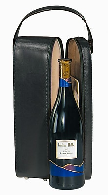 Royce Leather Wine Carrier, Black