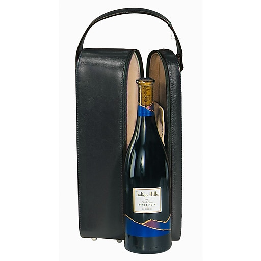 Leather Wine Carrier >> Royce Leather Wine Carrier Black Staples