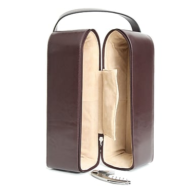 Royce Leather Suede Lined Double Wine Carrying Case, Burgundy, Silver Foil Stamping, 3 Initials