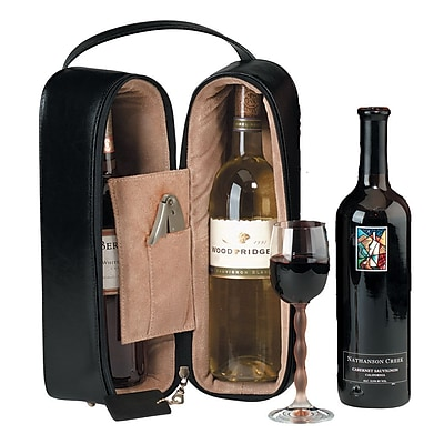 Royce Leather Double Wine Presentation Case, Black