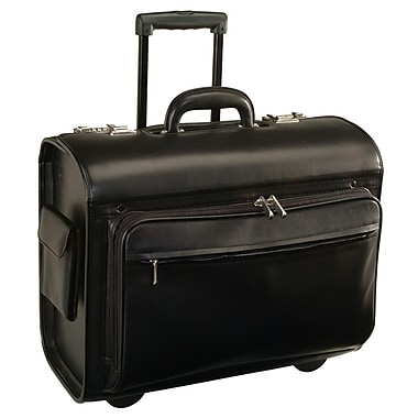 Royce Leather 'Litigator' Rolling Briefcase, Black, Debossing, 3 Initials
