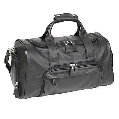 Royce Leather Classic Sports Duffle Bag, Black, Silver Foil Stamping, 3 Initials