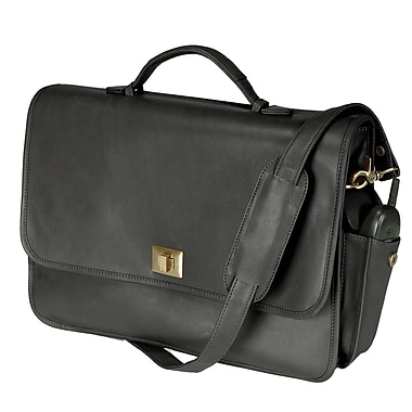 Royce Leather Executive Briefcase, Black, Silver Foil Stamping, 3 Initials