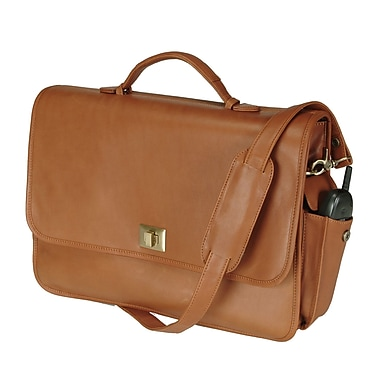 Royce Leather Executive Briefcase, Tan, Silver Foil Stamping, Full Name