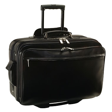Royce Leather Executive Rolling Laptop Briefcase, Black, Debossing, 3 Initials
