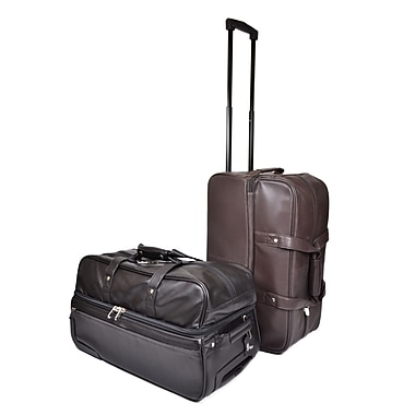 Royce Leather Rolling Trolley Duffle Bag, Black, Silver Foil Stamping, 3 Initials