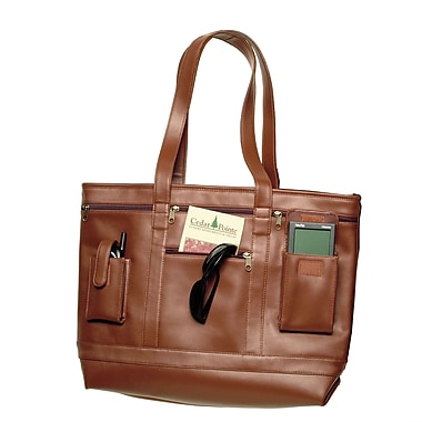Royce Leather Business Tote, Tan, Silver Foil Stamping, 3 Initials