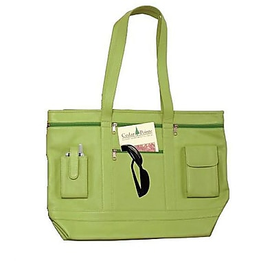 Royce Leather Business Tote in Genuine Leather, Lime Green, Silver Foil Stamping, 3 Initials