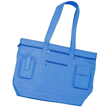 Royce Leather Business Tote in Genuine Leather, Royal Blue, Silver Foil Stamping, Full Name