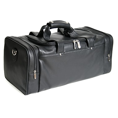 Royce Leather Sports Duffle Bag, Large, Black, Debossing, 3 Initials