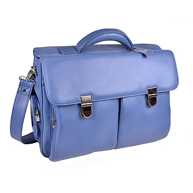 Royce Leather – Mallette pour ordinateur portatif, bleu