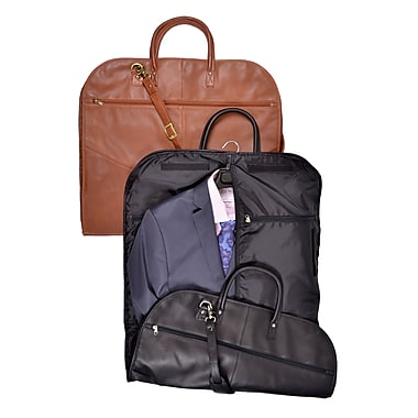 Royce Leather Garment Bag in Genuine Leather, Black, Gold Foil Stamping, Full Name