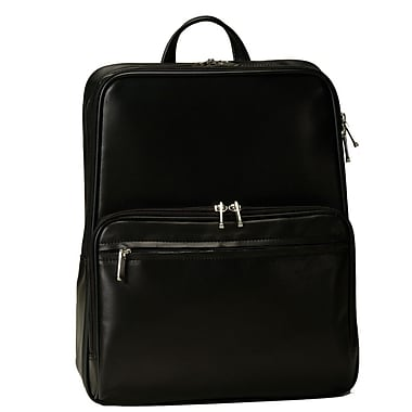 Royce Leather Laptop Backpack, Black (661-BLACK-5), Silver Foil Stamping, Full Name