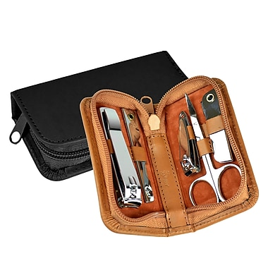 Royce Leather – Mini trousse à manucure chromée, havane, estampage doré, nom complet