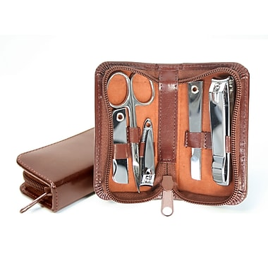 Royce Leather Bonded Leather Mini Manicure Set, British Tan, Gold Foil Stamping, 3 Initials