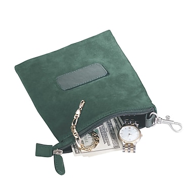 Royce Leather Suede Valuables Pouch, Green, Silver Foil Stamping, Full Name