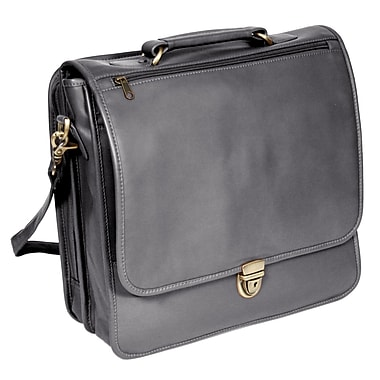 Royce Leather Laptop Organizer Briefcase, Large, Black, Silver Foil Stamping, Full Name