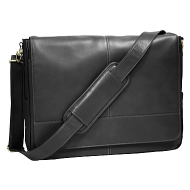 Royce Leather Messenger Bag, Black, Silver Foil Stamping, 3 Initials