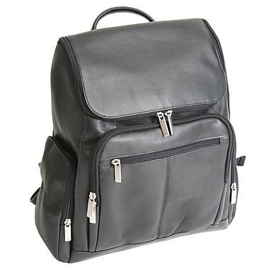 Royce Leather Laptop Backpack, Black (688-BLK-VL), Gold Foil Stamping, Full Name