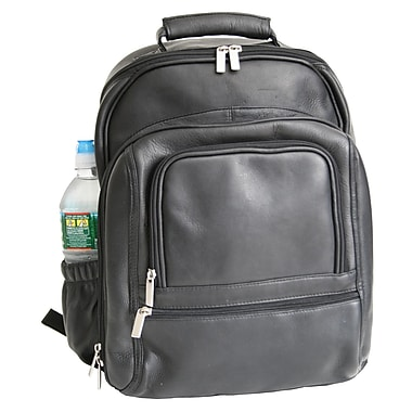 Royce Leather Colombian Vaquetta Deluxe Laptop Backpack, Black, Silver Foil Stamping, Full Name