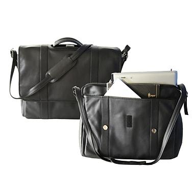 Royce Leather - Mallette de luxe expansible pour portatif, 17 po, noir, estampage métallique argenté , nom en entier