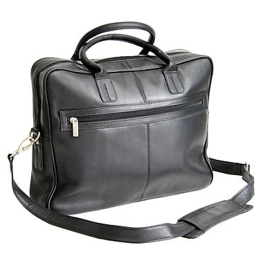 Royce Leather Briefcase, Black, Silver Foil Stamping, 3 Initials