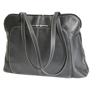 Royce Leather Executive Tote Bag, Black, Silver Foil Stamping, 3 Initials
