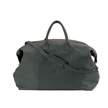 Royce Leather – Sac polochon Weekender, noir, estampage argenté, 3 initiales