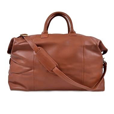 Royce Leather Weekender Duffle Bag, Tan, Silver Foil Stamping, 3 Initials