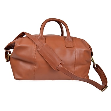 Royce Leather Carry All Overnight Duffle Bag, Tan, Silver Foil Stamping, 3 Initials