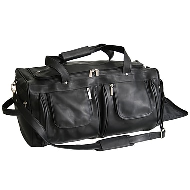 Royce Leather Duffle Bag, Black, Debossing, 3 Initials