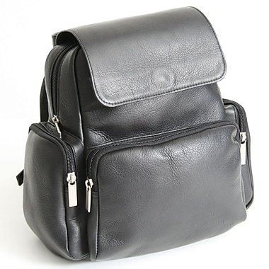 Royce Leather – Sac à dos Vaquetta colombien, noir, estampage doré à chaud, 3 initiales