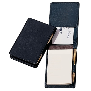 Royce Leather – Calepin de notes ouvrable, noir, estampage doré, nom complet