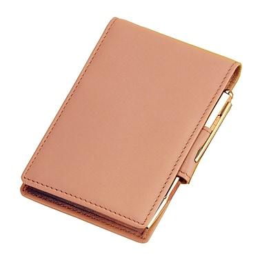 Royce Leather Flip Style Note Jotter, Carnation Pink, Gold Foil Stamping, 3 Initials