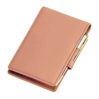 Royce Leather Flip Style Note Jotter, Carnation Pink