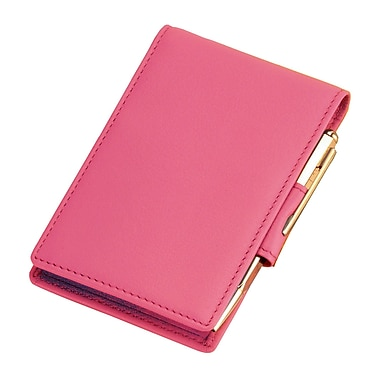 Royce Leather Flip Style Note Jotter, Wild berry, Gold Foil Stamping, 3 Initials