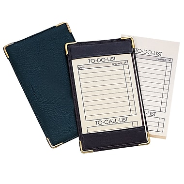 Royce Leather Pocket Jotter, Black, Gold Foil Stamping, 3 Initials