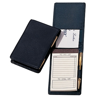 Royce Leather Deluxe Flip Style Note Jotter, Black, Silver Foil Stamping, Full Name