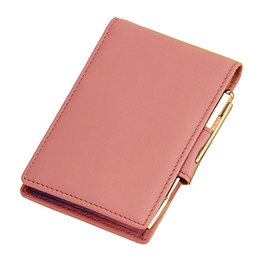 Royce Leather – Calepin de notes ouvrable de luxe, oeillet rose, estampage argenté, 3 initiales