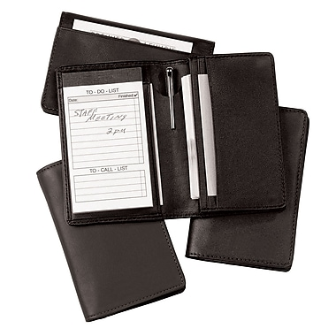 Royce Leather – Organisateur avec bloc-notes, noir, estampage doré, nom complet